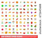 100 street food icons set in... | Shutterstock . vector #672645688
