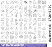 100 teaching icons set in... | Shutterstock . vector #672645730