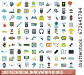 100 technical innovation icons... | Shutterstock . vector #672645784