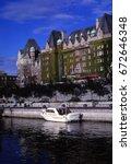 Small photo of VICTORIA, BRITISH COLUMBIA - OCT 13, 1980 - Empress Hotel in Victoria harbor,Victoria,British Columbia, Canada