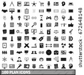 100 plan icons set in simple... | Shutterstock . vector #672648148