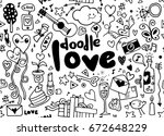 love hand lettering and doodles ... | Shutterstock .eps vector #672648229