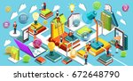 online education isometric flat ... | Shutterstock . vector #672648790