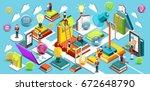 online education isometric flat ...   Shutterstock . vector #672648790