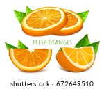 orange slices.vector... | Shutterstock .eps vector #672649510