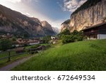 lauterbrunnen in the morning on ... | Shutterstock . vector #672649534