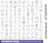 100 medic icons set in outline... | Shutterstock . vector #672650950