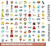 100 meteorological icons set in ... | Shutterstock . vector #672650998