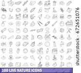 100 live nature icons set in... | Shutterstock . vector #672651076