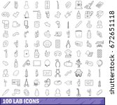 100 lab icons set in outline... | Shutterstock . vector #672651118