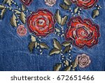Denim Embroidered Rose Flowers...