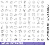 100 holidays icons set in... | Shutterstock . vector #672652030