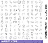 100 info icons set in outline... | Shutterstock . vector #672652108