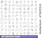 100 coaching icons set in... | Shutterstock . vector #672655114