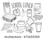 hand drawn school lunch... | Shutterstock .eps vector #672655204
