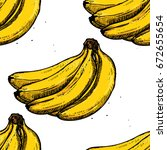 seamless banana pattern on... | Shutterstock .eps vector #672655654