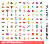 100 catering icons set in... | Shutterstock . vector #672655738