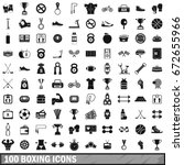 100 boxing icons set in simple... | Shutterstock . vector #672655966