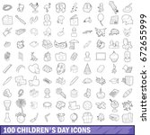 100 children day icons set in... | Shutterstock . vector #672655999