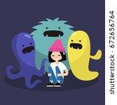 scared female character...   Shutterstock .eps vector #672656764