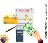 tax payment concept. state... | Shutterstock . vector #672660310