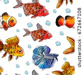 seamless texture of fish | Shutterstock . vector #672667108