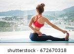healthy women wearing exercise... | Shutterstock . vector #672670318