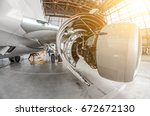 aircraft service  view of the...   Shutterstock . vector #672672130
