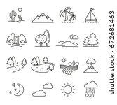 landscape  thin monochrome icon ... | Shutterstock .eps vector #672681463