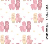 seamless pattern with lamas and ... | Shutterstock .eps vector #672684556