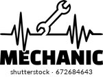 screwdriver heartbeat line with ... | Shutterstock .eps vector #672684643