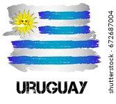 flag of uruguay from brush... | Shutterstock .eps vector #672687004