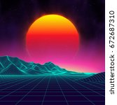 80s retro sci fi background.... | Shutterstock .eps vector #672687310