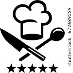 chef hat with crossed knife and ... | Shutterstock .eps vector #672689239