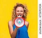 blonde wavy haired woman... | Shutterstock . vector #672692434