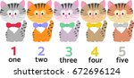 five pretty cats different... | Shutterstock .eps vector #672696124