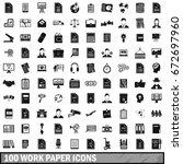 100 work paper icons set in...   Shutterstock . vector #672697960