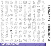 100 wage icons set in outline... | Shutterstock . vector #672698059