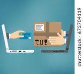 online shopping concept. fast...   Shutterstock .eps vector #672704119