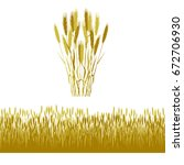 silhouettes of wheat ears and... | Shutterstock .eps vector #672706930
