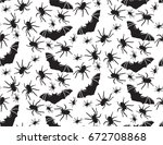 halloween vector seamless... | Shutterstock .eps vector #672708868