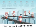 timeline infographic road... | Shutterstock .eps vector #672718279