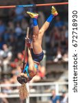 Small photo of STOCKHOLM, SWEDEN - JUNE 18, 2017: Angelica Bengtsson (SWE) at the women pole vault in the IAAF Diamond leauge Bauhaus Galan at Stockholm stadion.