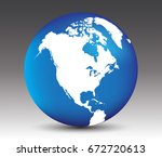 Vector Earth Globe Icon With...