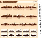 city skyline set. asia  3.... | Shutterstock .eps vector #672723028
