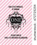 first birthday invitation girl  ...   Shutterstock .eps vector #672725254