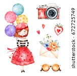 lovely summer collection with... | Shutterstock . vector #672725749