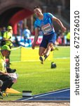Small photo of STOCKHOLM, SWEDEN - JUNE 18, 2017: Fabrice Lapierre in the mens longjump at the IAAF Diamond leauge Bauhaus Galan at Stockholm stadion.