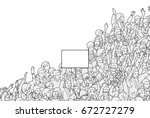illustration of crowd protest... | Shutterstock .eps vector #672727279