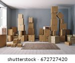 room full of cardboard boxes.... | Shutterstock . vector #672727420
